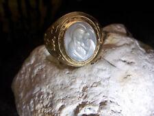 Adler-Biebel-Brudergruß-Maria-Jesus-USA-Ring-585-Gold-Mutter-mit-Kind-1960-1970
