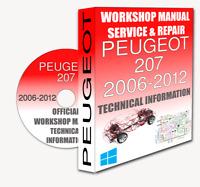 Service Workshop Manual & Repair Manual PEUGEOT 207 2006-2012 +WIRING