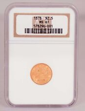 1878 Liberty Head Gold $2.50 Graded MS 61 by NGC