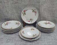 Wawel Poland Set of 13 Moss Rose Gold Edge China (7) Dessert Plates (6) Saucers