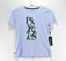 NWT Karl Lagerfeld Paris Graphic Cotton T-shirt Sz S NWT Crystal Blue