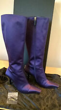 GUCCI purple satin & leather boots with logo heel detail Size UK 3.5 Eur 36.5
