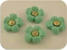 2 Hole Beads Flowers Mint/Aqua w/ Clear Swarovski Crystal Elements~Sliders QTY 4