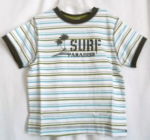 BOYS 4 GREEN SURF PARADISE GLOBAL STRIPED TEE SHIRT NWT ~ GYMBOREE