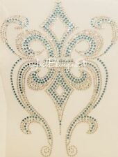 Fleur de Lis with Swirls Rhinestone Iron On Transfer Bling MADE IN USA