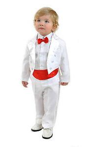 5 teilig Kinderanzug Frack Anzug Smoking Kombination Hochzeit Taufe 98/104 weiss