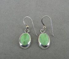 Taxco Green Stones Dangle Mexico Pierced Sterling Silver 925 Earrings