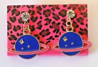 Betsey Johnson Crystal Rhinestone Enamel Planet Post Earrings