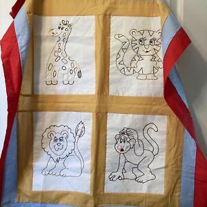 Hand Embroidered Animal Baby Boy Quilt Top, Giraffe Tiger Lion Monkey