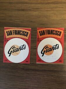 """Two Vintage Fleer """"Real Cloth"""" San Francisco Giants MLB Stickers"""