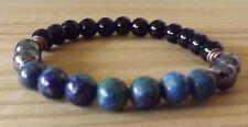 Azurite Black Onyx Hematite 8mm Gemstone Beads Healing Stacking Bracelet Mala