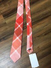 NEW ALEXANDER OLCH Classic Orange & Peach Diagonal Plaid Skinny Linen  Neck Tie