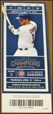 4/13/2017 Chicago Cubs vs Los Angeles Dodgers Ticket Ben Zobrist Anthony Rizzo