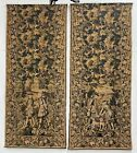 """French Antique Pair (2) 9 feet 4"""" Tall Hunting Tapestry circa1870"""