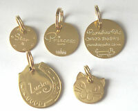 BRASS NAME PET TAGS DOG CAT HORSE TAG HAND OR MACHINE ENGRAVED (your choice)