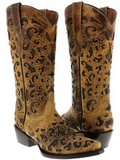 Womens Sand Overlay Western Cowgirl Boots Distressed Genuine Leather Snip Toe
