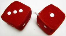 "AUTOMOBILE - CAR FUZZY DICE PAIR WITH STRING 3"" CUBES RED"