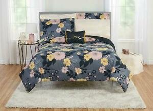 Mainstays 6-8 Piece Floral Poppy Bed In A Bag Set, Full, Slate Blue