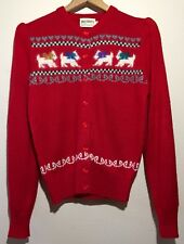 Vintage 50s Knitmakers Red Fuzzy Angora Sweater - Size M