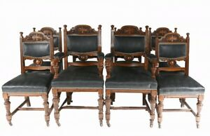 Set 8 Farmhouse Dining Chairs English Oak Rustic