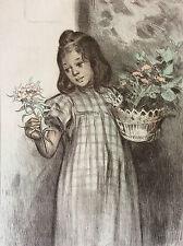 Firmin Bouisset petite fille fleur lithographie originale 1897 L'estampe Moderne