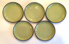 "SET OF 5 DANSK SPIN GREEN SALAD PLATES 8"" GREEN & BROWN FREE SHIPPING"