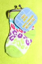 Brand New Baby Sock Change Coin Purse - Lime Green w/Blue, Pink & Purple