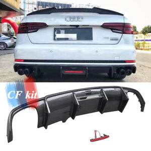 For Audi A4 B9 SLIN S4 C Style 2016-2018 Carbon Fiber Rear Bumpers Diffuser Lip