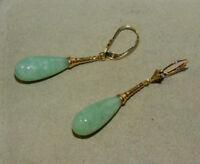 Lovely 14K Gold Apple Green Jadeite Jade Briollete Leaver Back Earrings  1H 55