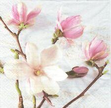 2 Serviettes en papier Magnolia Fleurs Decoupage Paper Napkins Flowers