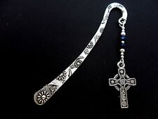 A TIBETAN SILVER/BLUE CRYSTAL BEAD CELTIC CROSS THEMED BOOKMARK. NEW.