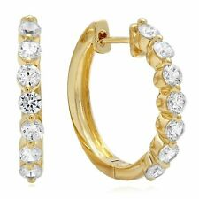 1 ct 7-Stone Round Latch-Back Hoop Earrings 14 Yellow Gold