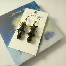 ARTISAN HANDMADE PRETTY BLACK LUCITE FLOWERS BLACK GLASS BEADS DANGLING EARRINGS