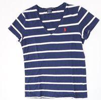 Ralph Lauren T-Shirt Damen Gr.S blau gestreift V-Ausschnitt -S1439