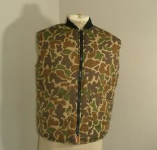 Vtg SPRUCE CREEK Woodland Camo Blaze Orange Hunting REVERSIBLE VEST USA MADE Med