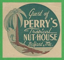 "VINTAGE ORIGINAL 1946 ""PERRY'S TROPICAL NUT HOUSE"" BELFAST MAINE WATER DECAL ART"