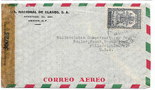 WWII Mexico Censored Airmail Commercial Cover to US Censor Tape Examiner 36028