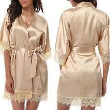 1PC Womens Satin Silk Lace Bride Kimono Wedding Bath Robe Night Dressing Gown