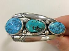 Sterling Silver Bangle with Three Genuine Turquoise Stones