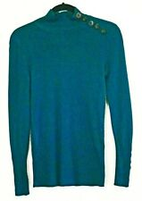 Anne Klein 100% cashmere blue green turtleneck sweater size PS