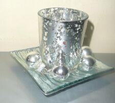 WEIHNACHTEN! Schönes TEELICHT-GLAS-SET mit Teller in silber, 9,5cm x 7cm NEU!