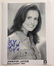 Jennifer Lavoie Playboy Miss August 1993 Autographed Denim Headshot Photo - #3
