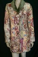NEW  CHICO'S  Womens Abstract print  Multi-Color faux  fur  Coat Size 0