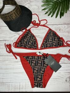 Fendi Brown/Red Bikini-Small