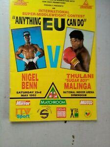 NIGEL BENN V THULANI MALINGA  AT N E C   MAY 23  1992  PROGRAMME