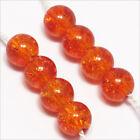 Lot de 50 Perles Craquelées en Verre 6mm Orange