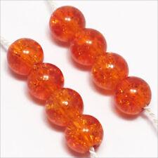 Pack Von 50 Perlen Krakelee aus Glas 6mm Orange