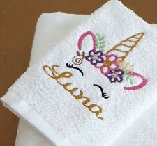 Personalised Unicorn Face Cloth Flannel embroidered