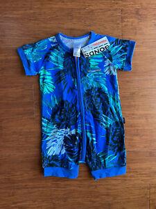 Bonds Welcome to the Jungle Lion Pride Blue Zip Romper Wondersuit Size 1 BNWT