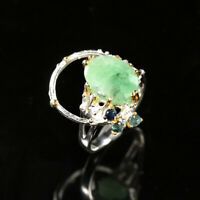 Natural Emerald 925 Sterling Silver Ring Size 7/RR17-0919